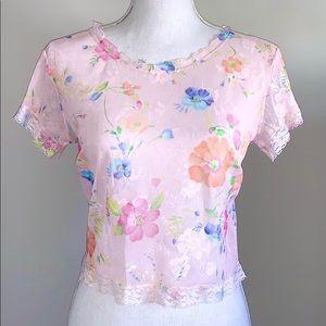 Victoria's Secret Floral Mesh Y2K Tee